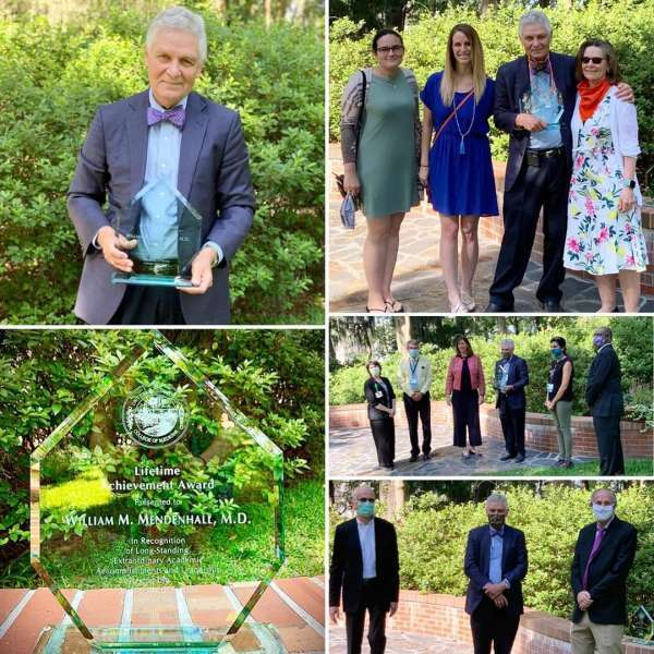 Drs. Bill and Nancy Mendenhall and family were in attendance during a small awards ceremony on May 12 in Wilmot Gardens.